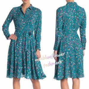 Nanette Lepore Green Blue Floral Shirt Dress 2